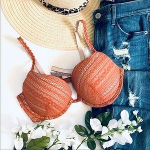 Victoria's Secret burnt orange lace wired push up bra 36C